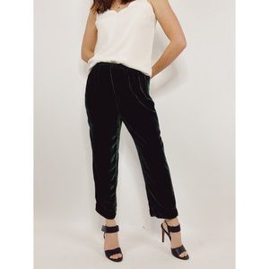 cut loose Emerald Green Velvet Ankle Pants NEW